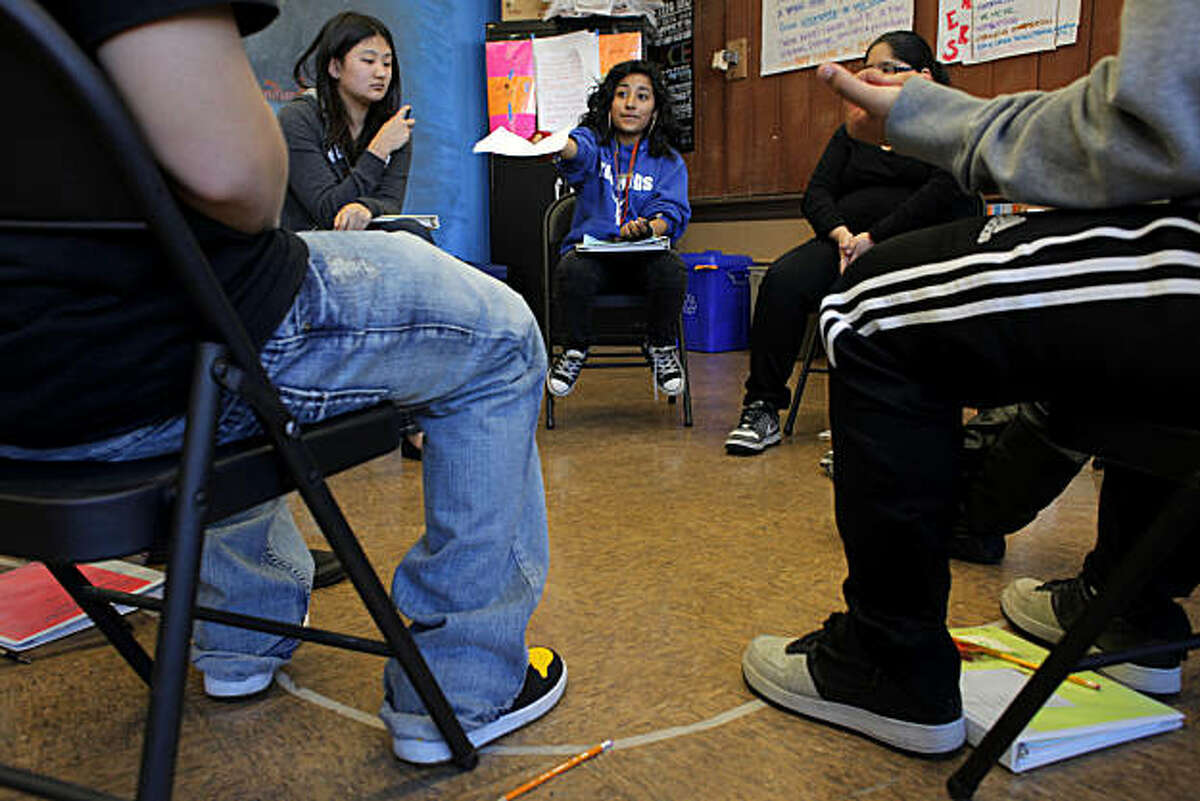 Senior Franchesca Hernandez leads other students in the Peer Resourses Class at the Balboa High School, Tuesday Feb. 08, 2011, in San Francisco, Calif.