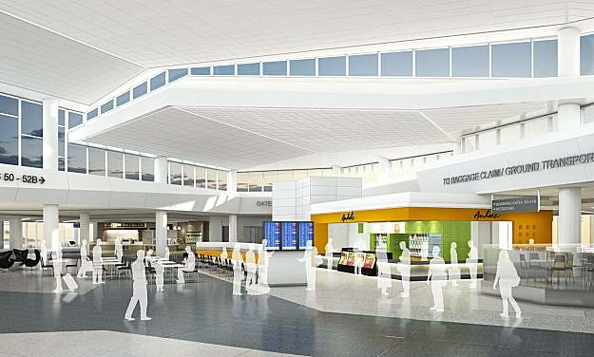The renovated departures area at San Francisco International Airport's Terminal 2 will include natural lighting and a central seating area.