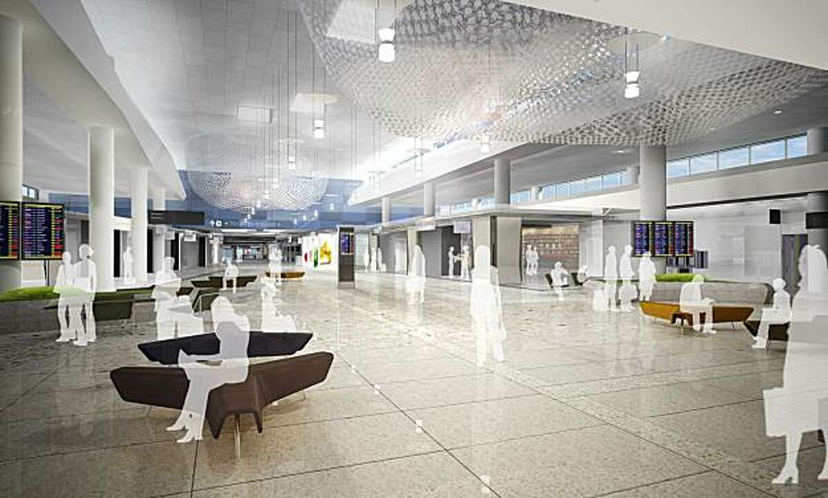 """The """"Recompose"""" space designed for the renovated Terminal 2 at San Francisco International Airport. The actual space will have additional seating; also, the ceiling artwork """"Air Ocean"""" by Janet Echelman will have a purple hue."""