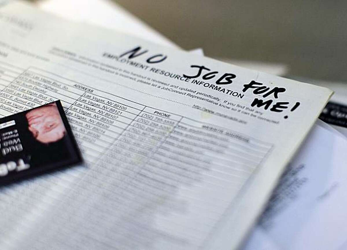 This Friday, Jan. 21, 2011 picture shows a list of job openings that Bud Meyers applied for at various casinos on his apartment desk in Las Vegas. More than two years after Meyers lost his job as a Las Vegas Strip bartender and nearly eight months after he exhausted his unemployment benefits, the 55-year-old is certain he will soon be homeless. He is among a growing number of people who no longer qualify for unemployment benefits because they have been out of work for so long.