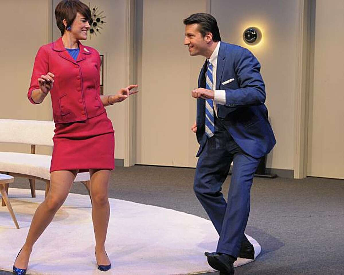 Bernard (Liam Vincent) enjoys a twist with his French flight attendant fiancee Gabriella (Jessica Lynn Carroll) in Center Rep's production of