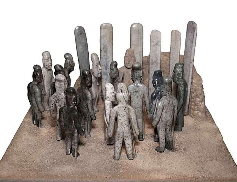 Offering 4 (group of standing figures and celts), Mexico, Tabasco, La  >Venta, 900400 BC, jadeite, serpentine, and an atypical stone (possibly  >granite), sixteen figurines, height: 67 7/8 inches; six celts, height:  >9 3/810 inches. Museo Nacional de Antropologia, Mexico City (109650  >0/22). Photo: Consejo Nacional para la Cultura y las ArtesInstituto  >Nacional de Antropologia e HistoriaMexicoJavier Hinojosa Photo: Javier Hinojosa