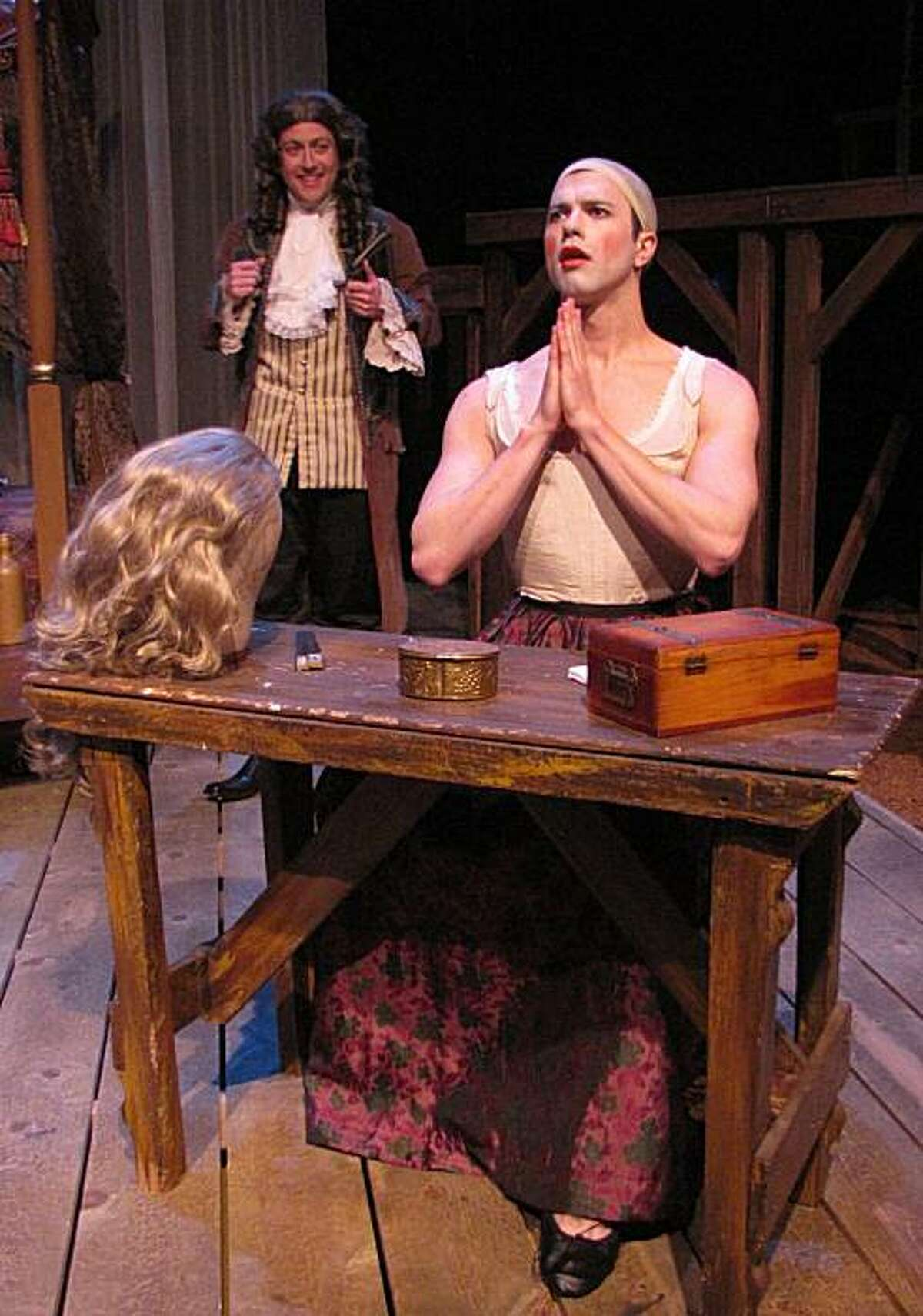 Thomas Gorrebeeck as Kynaston preparing to perform, visited by Samuel Pepys (Jonathan Shue) in City Lights Theater's production of