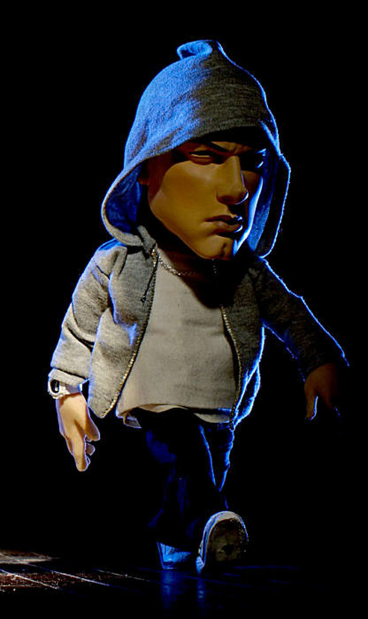 **COMMERCIAL IMAGE** In this photo released by Brisk on Sunday, Feb. 6, 2011, Eminem is seen in puppet form for Brisk Iced Tea's Super Bowl TV spot shot in San Francisco. (Brisk via AP Images)