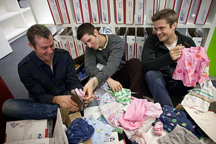 (L-R) Co-founders of ThredUP, Oliver Lubin, 32 chief creative officer, James Reinhart, 31, chief executive officer and Chris Homer, 27 chief technology officer in their office January 28, 2011 in San Francisco, Calif.  Photograph by David Paul Morris/Special to the Chronicle Photo: David Paul Morris, Special To The Chronicle