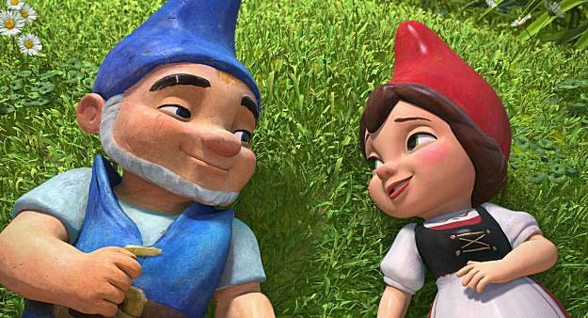 Gnomeo, left, voiced by James McAvoy and Juliet, voiced by Emily Blunt star in an animated romance,