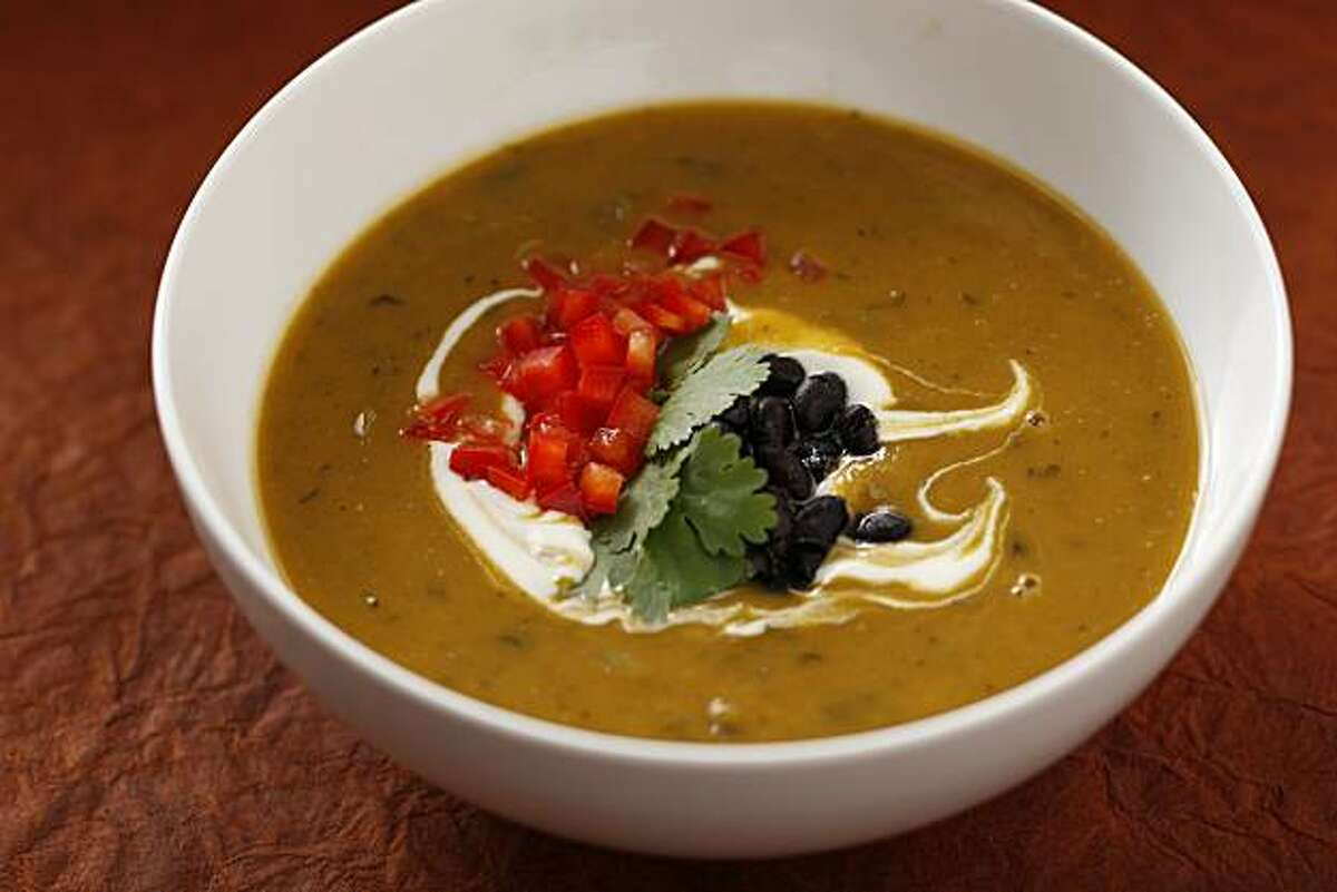 Pumpkin and Black Bean Soup in San Francisco, Calif., on October 7, 2009. Food styled by Rachael Daylong.