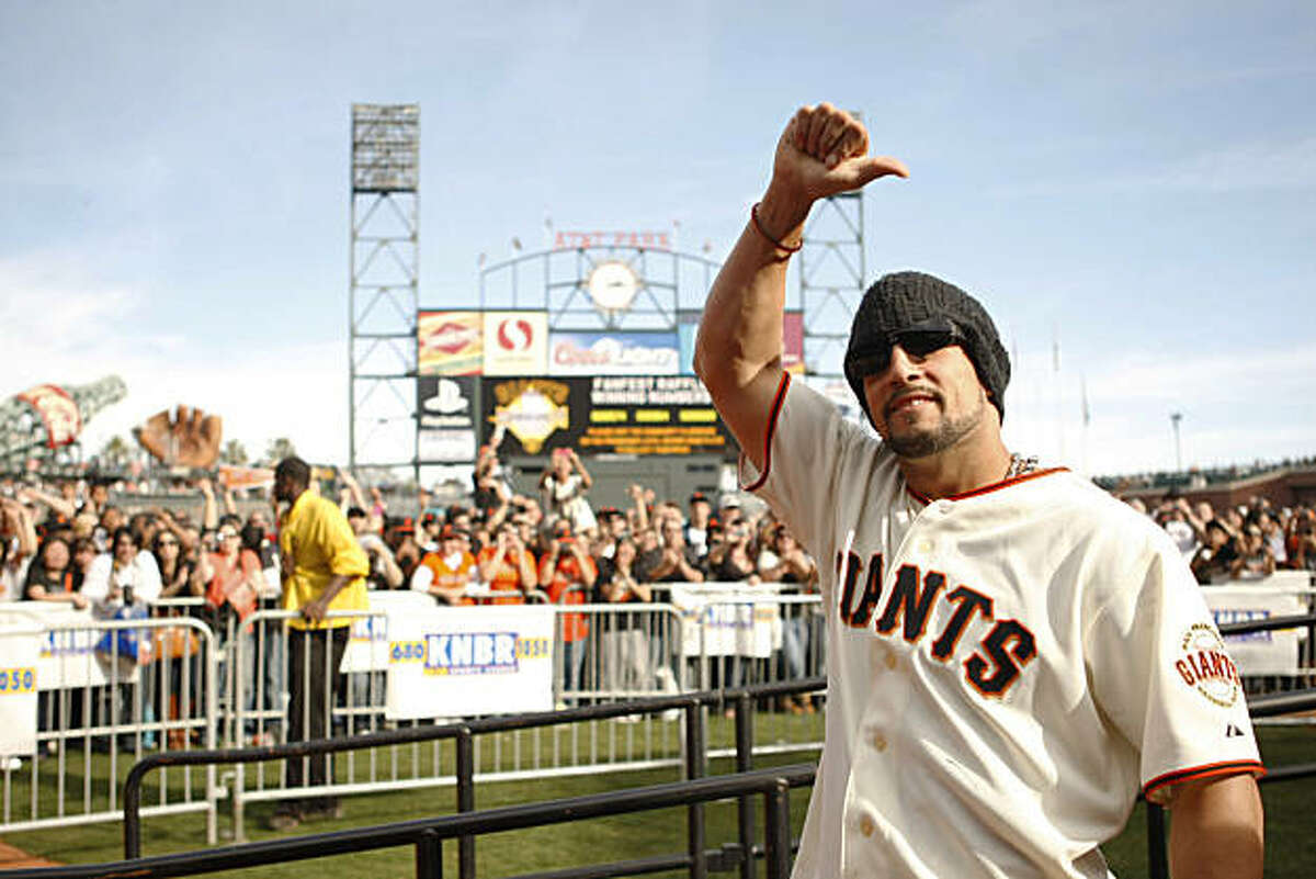 Andres Torress gives a thumbs up to the crowd during FanFest at AT&T Park in San Francisco Calif. on Saturday, Feb. 5, 2011.