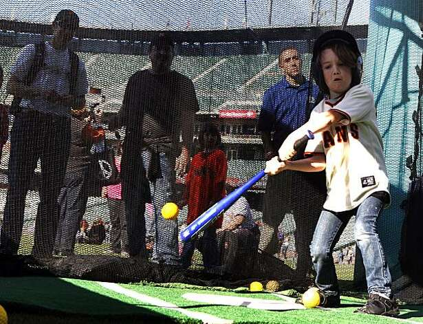 Jackson Weinger, 7, of San Jose, took his turn batting on Saturday at AT&T Park. Photo: Lance Iversen, The Chronicle