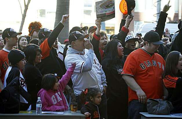 The San Francisco Giants annual FanFest kicked off early Saturday with some fans standing in line since 11p.m. Friday. Photo: Lance Iversen, The Chronicle
