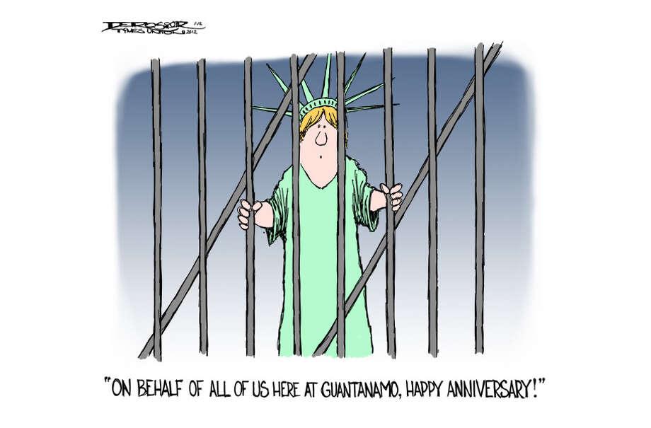 Tenth anniversary of Guantanamo prison. Photo: John De Rosier