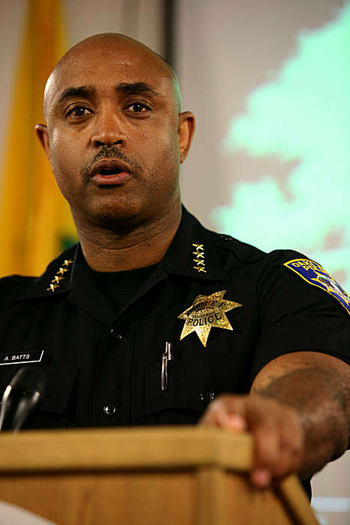 Oakland Police Chief Anthony Batts holds a press conference at the Emergency Operations Center to state that the majority of the demonstrations in Oakland have been peaceful following the Johannes Mehserle verdict on Thursday, July 8, 2010 in Oakland, Calif.