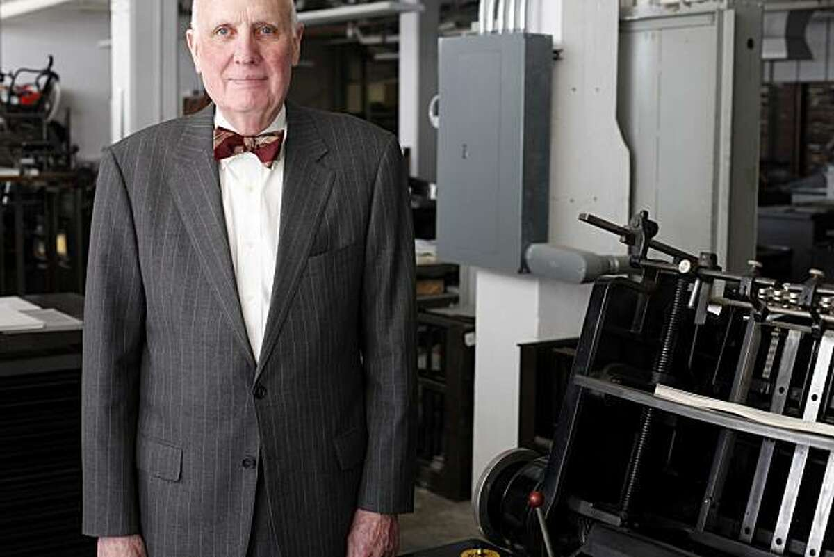 Andrew Hoyem, 75, celebrating 50 years in printing at Arion Press, stands for a portrait in his presidio offices on Thursday January 27, 2011 in San Francisco, Calif.