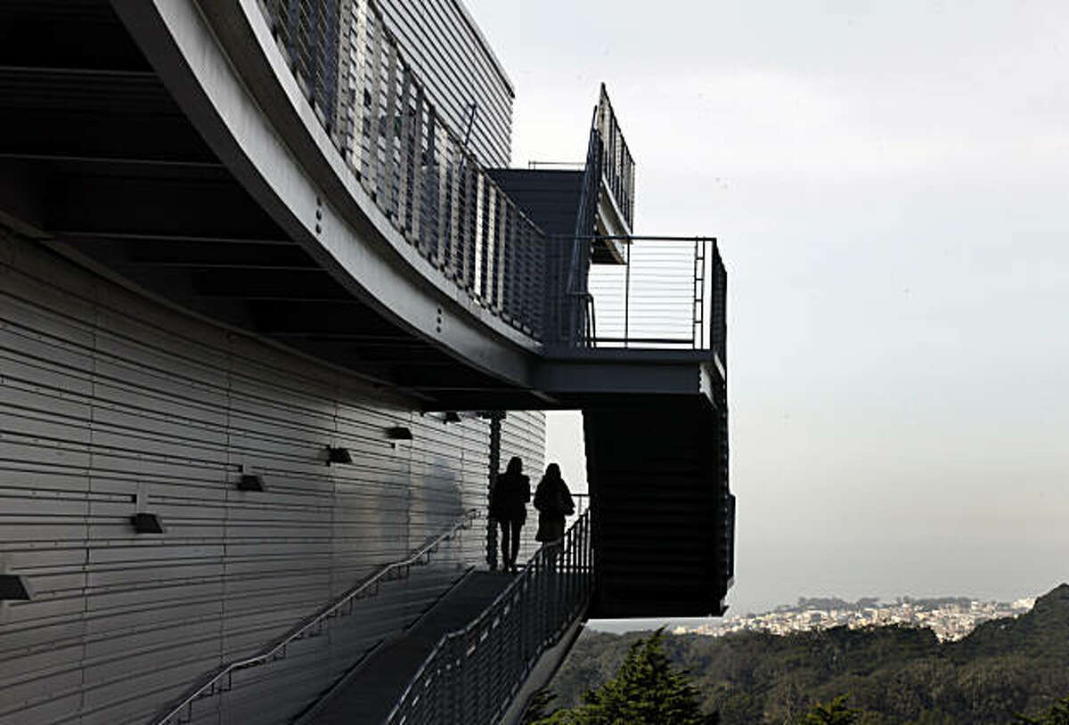 A maze of stairs both inside and out guide employees at The University of California medical center. The University of California San Francisco Ray and Dagmar Dolby Regeneration Medicine Building slides along Mt. Sutro like an elongated silver snake perched on stilts with an up reared head looking out toward the ocean. Wednesday Feb. 3, 2011.