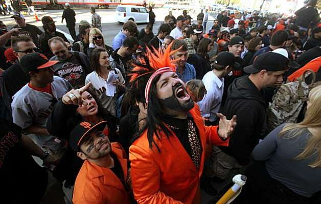 Duke Rasmusen, of Napa, Calif, lets out a primal howl as he waits to get into AT&T park for game 3 of the National League Champion series with the San Francisco Giants and the Philadelphia Phillies on Tuesday Nov. 19, 2010 in San Francisco, Calif. Photo: Mike Kepka, The Chronicle
