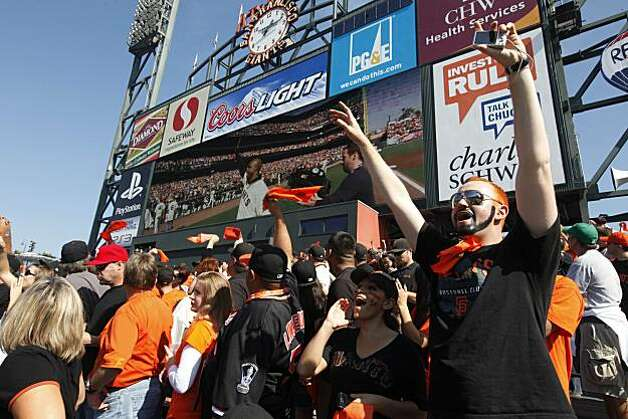 San Francisco Giants fans cheer during pre-game festivities before the start of  Game 3 of the National League Championship Series with the San Francisco Giants and the Philadelphia Phillies at AT&T Park on Tuesday, October 19, 2010 in San Francisco, Calif. Photo: Lance Iversen, The Chronicle