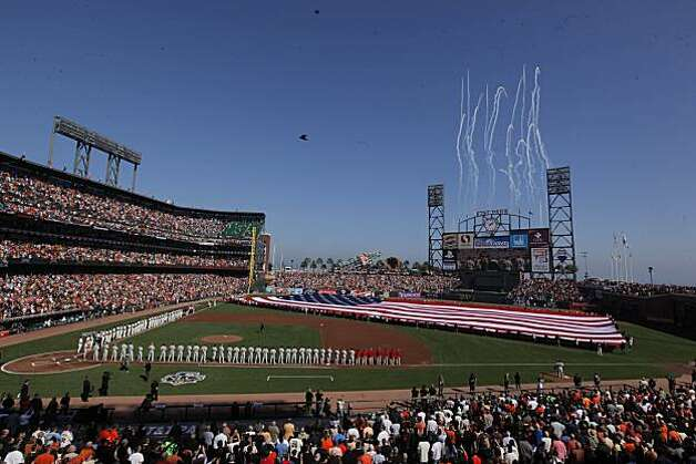 Pre-game festivities are seen on the field before the start of Game 3 of the National League Championship Series with the San Francisco Giants and the Philadelphia Phillies at AT&T Park on Tuesday, October 19, 2010 in San Francisco, Calif. Photo: Michael Macor, The Chronicle