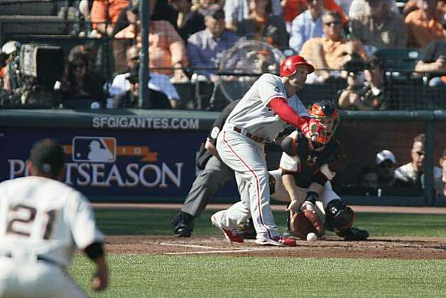 Philadelphia Phillies' Raul Ibanez strikes out in the third inning on a pitch in the dirt during Game 3 of the National League Championship Series against the San Francisco Giants at AT&T Park on Tuesday, October 19, 2010 in San Francisco, Calif. Photo: Lance Iversen, The Chronicle