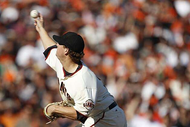 San Francisco Giants starting pitcher Matt Cain works against the Philadelphia Phillies during Game 3 of the National League Championship Series at AT&T Park on Tuesday, October 19, 2010 in San Francisco, Calif. Final Score: Giants: 3 - Phillies: 0. Photo: Carlos Avila Gonzalez, The Chronicle