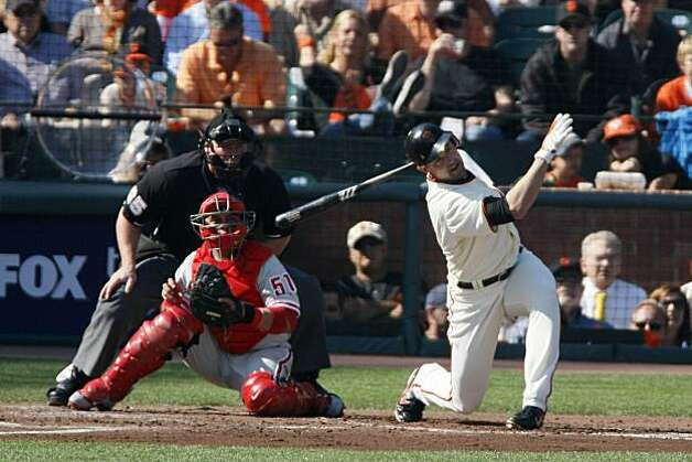 Pat Burrell  of the San Francisco Giants strikes out in the second inning during Game 3 of the National League Championship Series with the San Francisco Giants and the Philadelphia Phillies at AT&T Park on Tuesday, October 19, 2010 in San Francisco, Calif. Photo: Lance Iversen, The Chronicle