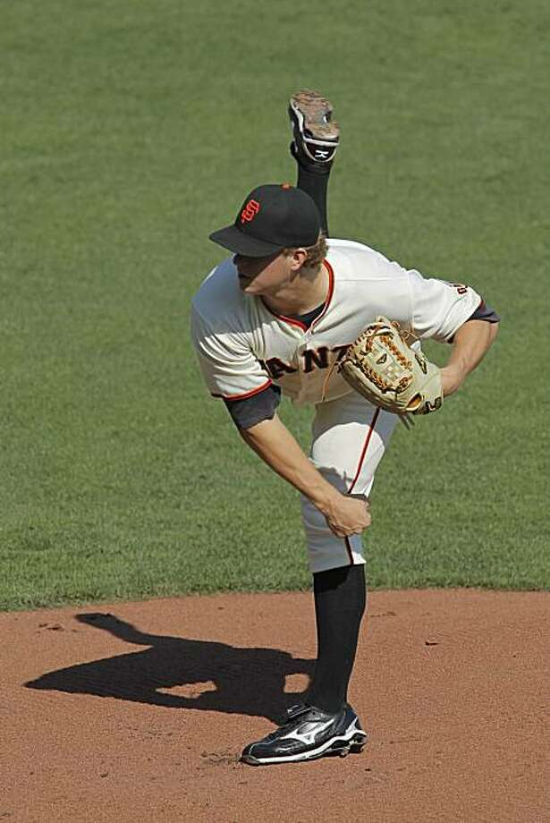 San Francisco Giants' starting pitcher Matt Cain works against the Philadelphia Phillies during Game 3 of baseball's National League Championship Series with the San Francisco Giants and the Philadelphia Phillies at AT&T Park on Tuesday, October 19, 2010 in San Francisco, Calif. Photo: Michael Macor, The Chronicle