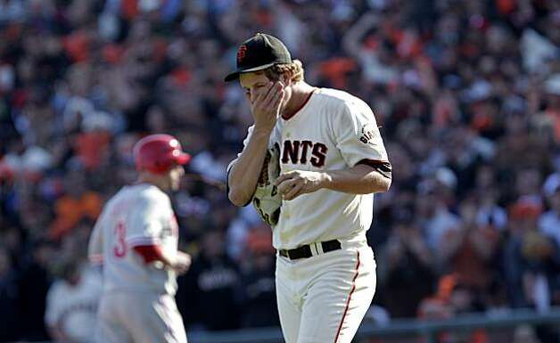 San Francisco Giants pitcher Matt Cain in the seventh inning against the Philadelphia Phillies of Game 3 of the National League Championship Series, Tuesday Oct. 19, 2010, at AT&T Park in San Francisco, Calif. The Giants defeated the Phillies 3 to 0. Photo: Lacy Atkins, The Chronicle