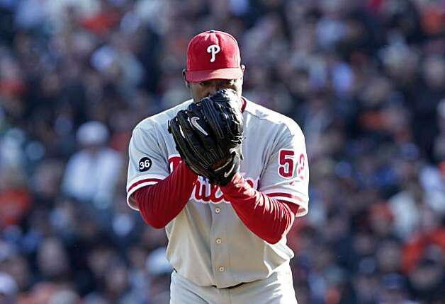 Philadelphia Phillies closing pitcher Jose Contreras pitches against the San Francisco Giants in Game 3 of the National League Championship Series, Tuesday Oct. 19, 2010, at AT&T Park in San Francisco, Calif. Photo: Lacy Atkins, The Chronicle