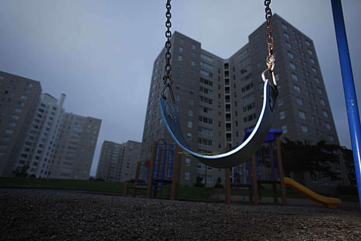 An empty swing hangs in a playground in Parkmerced, on Monday, January 31, 2011 in San Francisco, Calif.