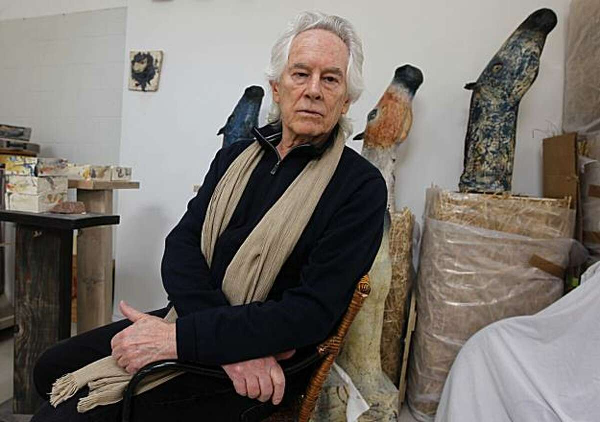 Beat poet Michael McClure is seen in his wife Amy Evans McClure's art studio at their home in Oakland, Calif., on Thursday, Sept. 16, 2010.