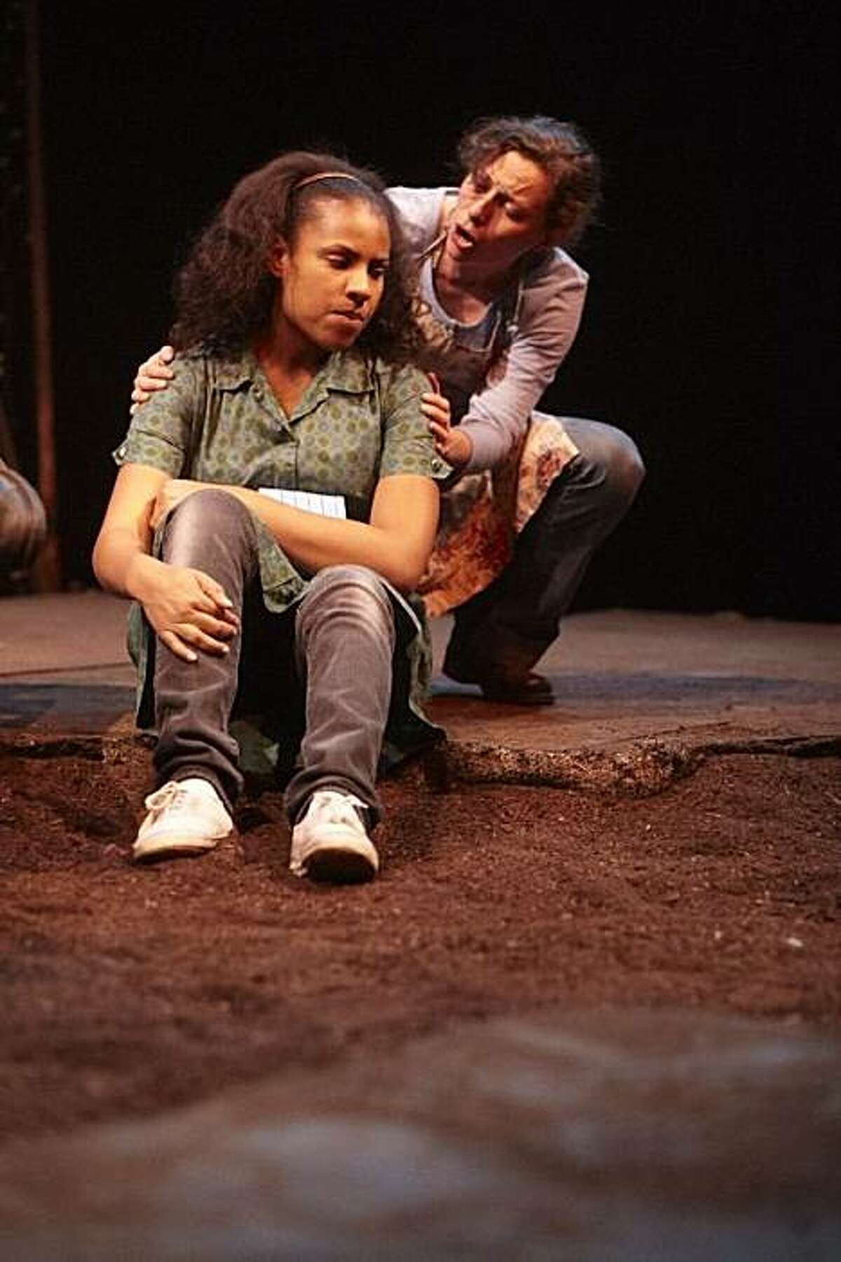 Kelly Strickland (left) as Rose of Sharon and Emily Morrison in TheatreFirst's production of Frank Galati's adaptation of