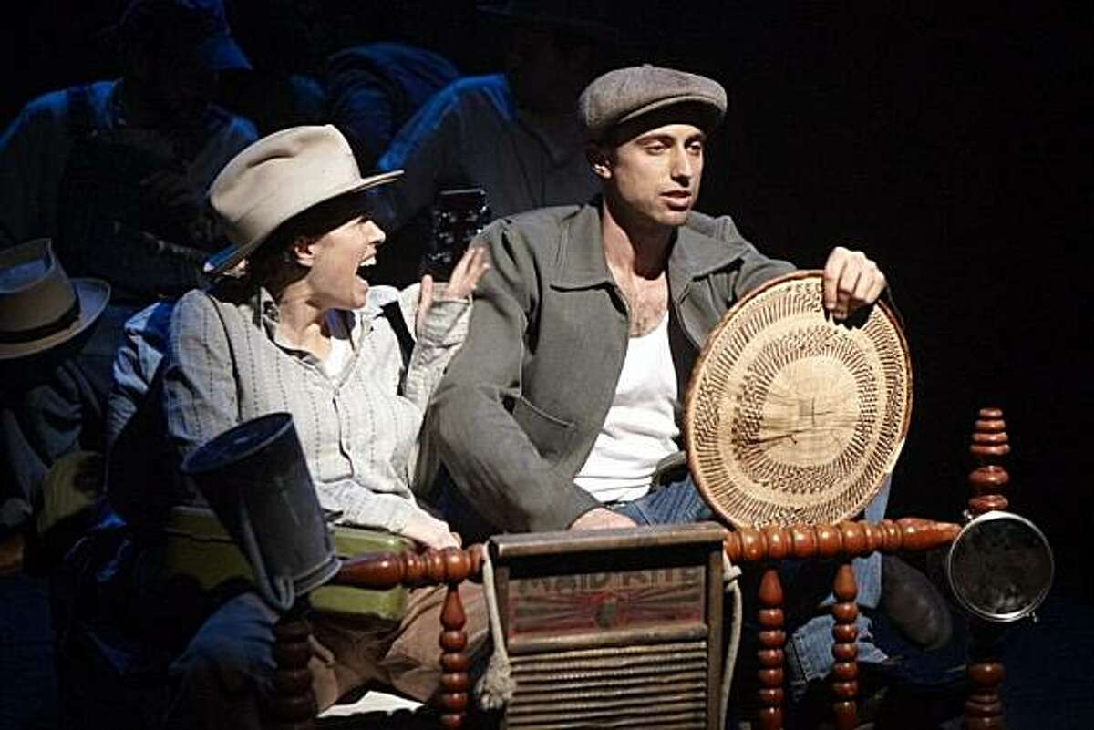 Emily Morrison as Al Joad and Alex Hersler as Tom Joad in TheatreFirst's production of Frank Galati's adaptation of