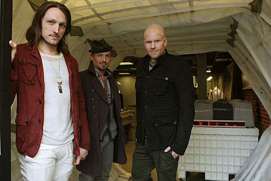 Designers Ian Hannula (left) and Joe Haller (right)with business partner Riley Johndonnell (middle) of Nice Collective, an SF menswear label which opened a store called Mobile Supply Unit in San Francisco Calif., on Friday, January 28, 2011. Photo: Liz Hafalia, The Chronicle