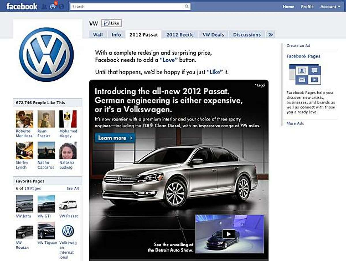 Volkswagen's 2011 Super Bowl ad for the Passat has garnered over 7 million views on youtube before the game has even been played. this screenshot shows a supporting facebook page.
