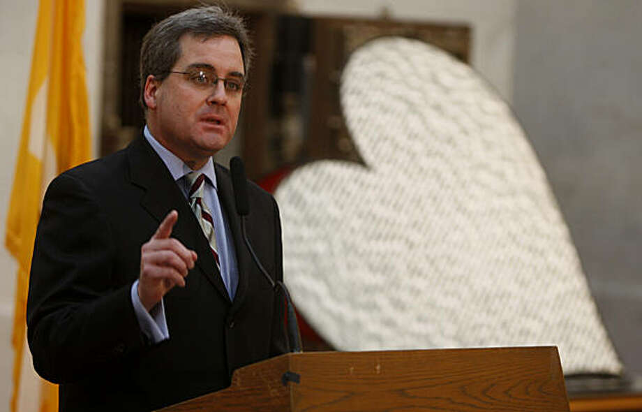 City Attorney Dennis Herrera speaks at a City Hall news conference before the California State Supreme Court hears arguments over the constitutionality of Proposition 8 in San Francisco, Calif., on Thursday, March 5, 2009. California voters approved the initiative in last November's statewide election. Photo: Paul Chinn, The Chronicle