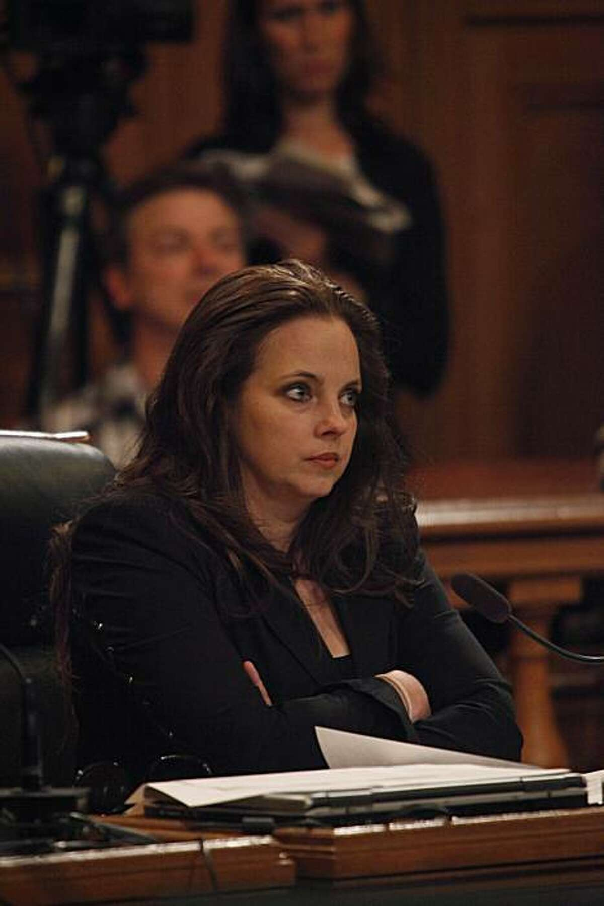 Supervisor Michela Alioto-Pier listens during a San Francisco Board of Supervisors meeting at City Hall in San Francisco, Calif. on Tuesday May 4, 2010.