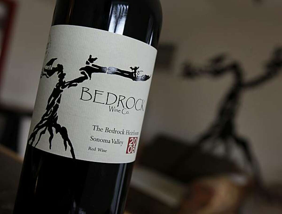 The wine label for the Zinfandel produced by Bedrock Wine Company Thursday January 6, 2011. Winemaker Morgan Twain-Peterson uses one of California's oldest vineyards, Bedrock Vineyards, to produce his own unique Zinfandel using minimalist techniques in Sonoma, Calif.