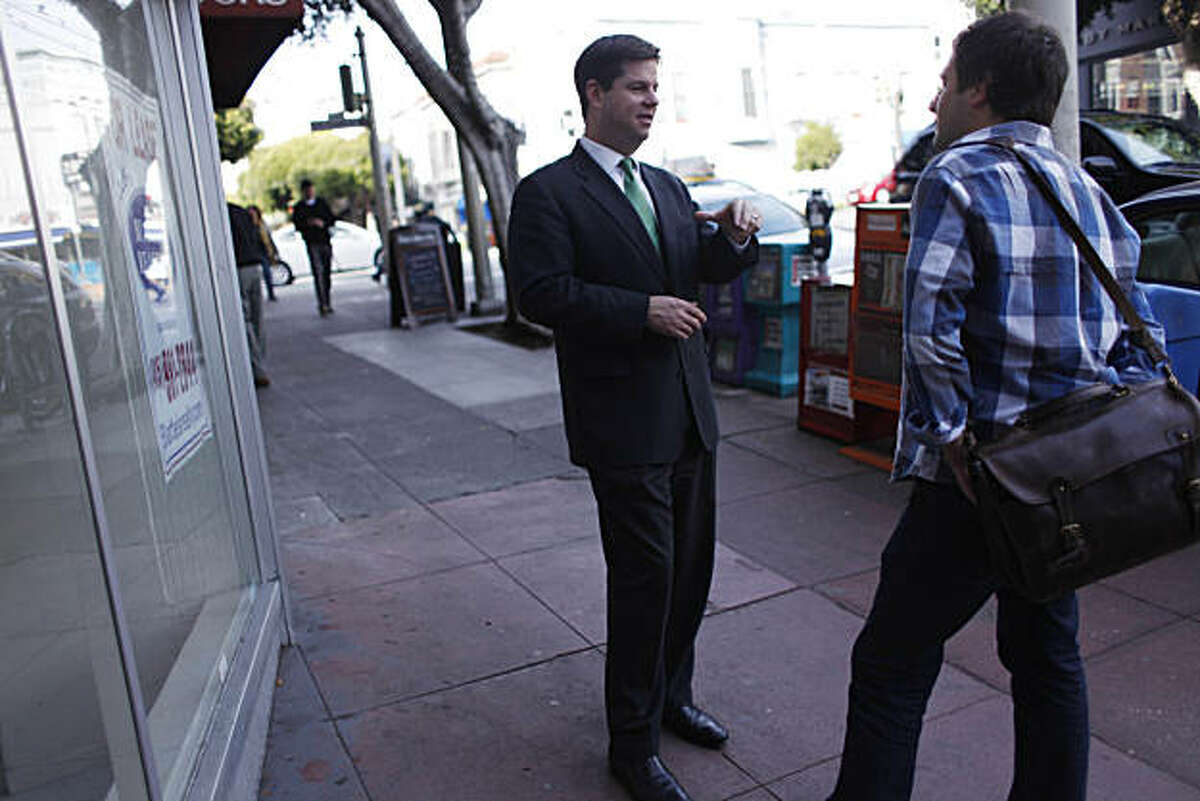 Supervisor Mark Farrell (l to r) talks with Restauranter Nate Valentine in front of a storefront available for lease on Fillmore Street on Friday, February 4, 2011 in San Francisco, Calif. San Francisco is lifting the ban on restuarants in certain neighborhoods.