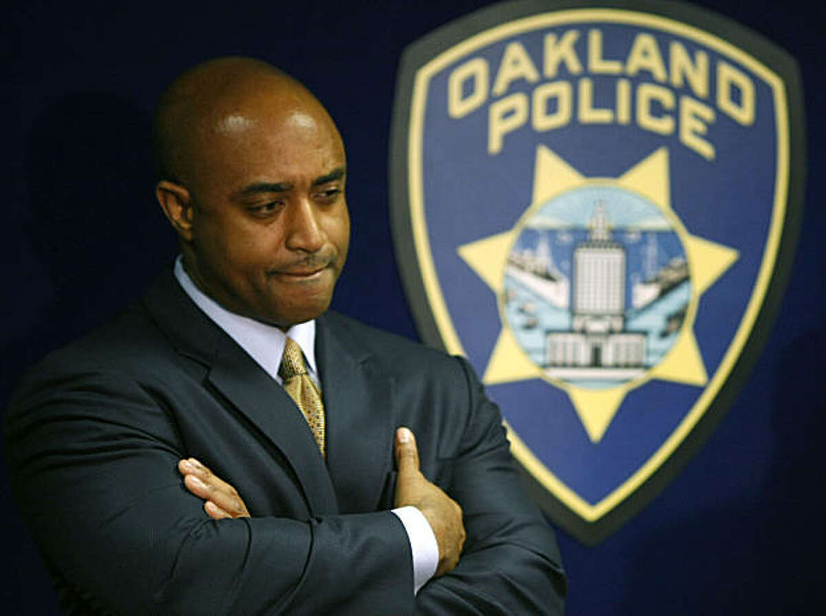 Oakland Police chief Anthony Batts listens to Capt Ben Fairow address the media regarding the Board of Inquiry findings surrounding the murders of four Oakland Police officer on March 21st 2009 by Oakland resident Lovell Mixon. Jan. 6, 2010