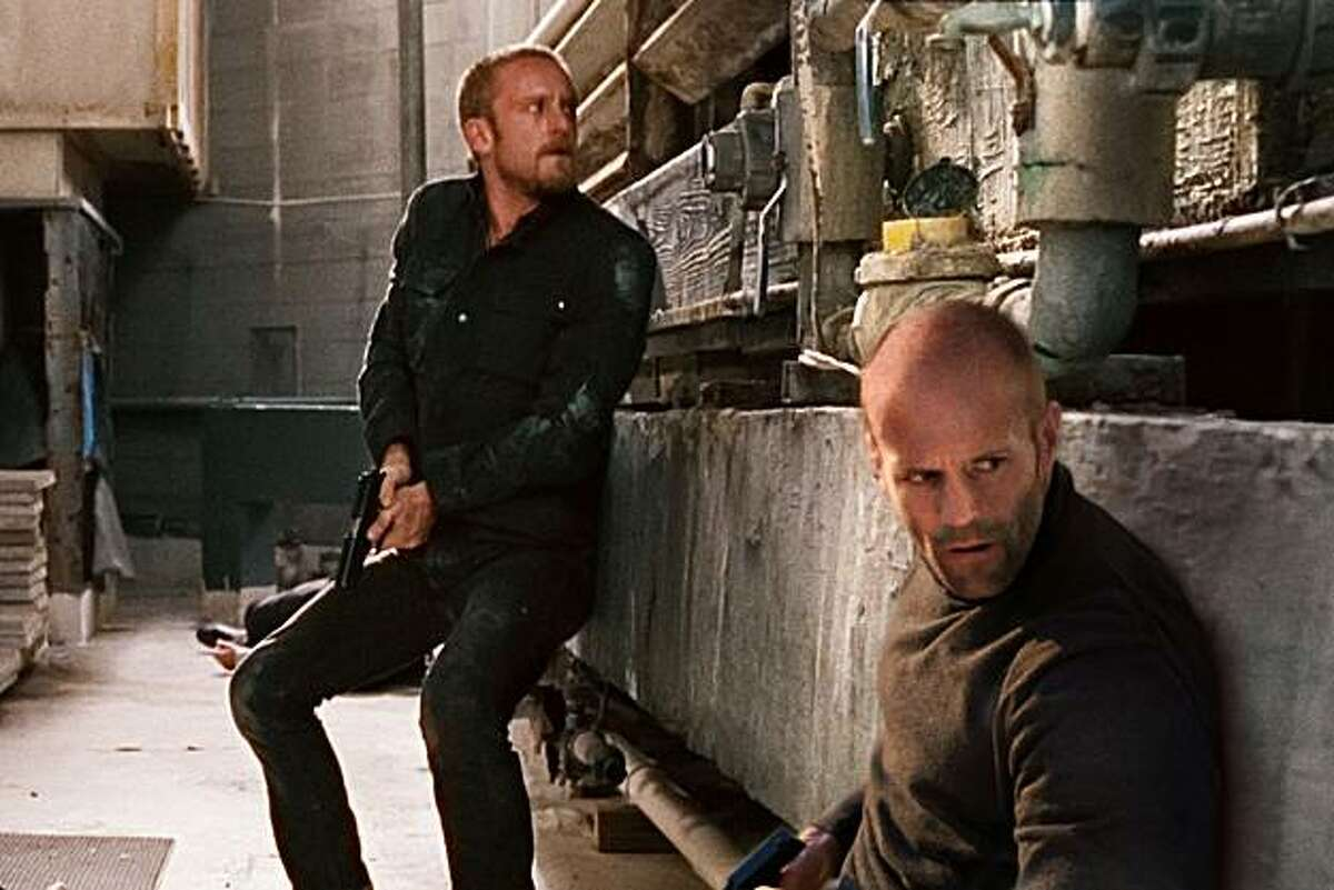 Ben Foster as Steve McKenna and Jason Statham as Arthur Bishop appear in a scene from,