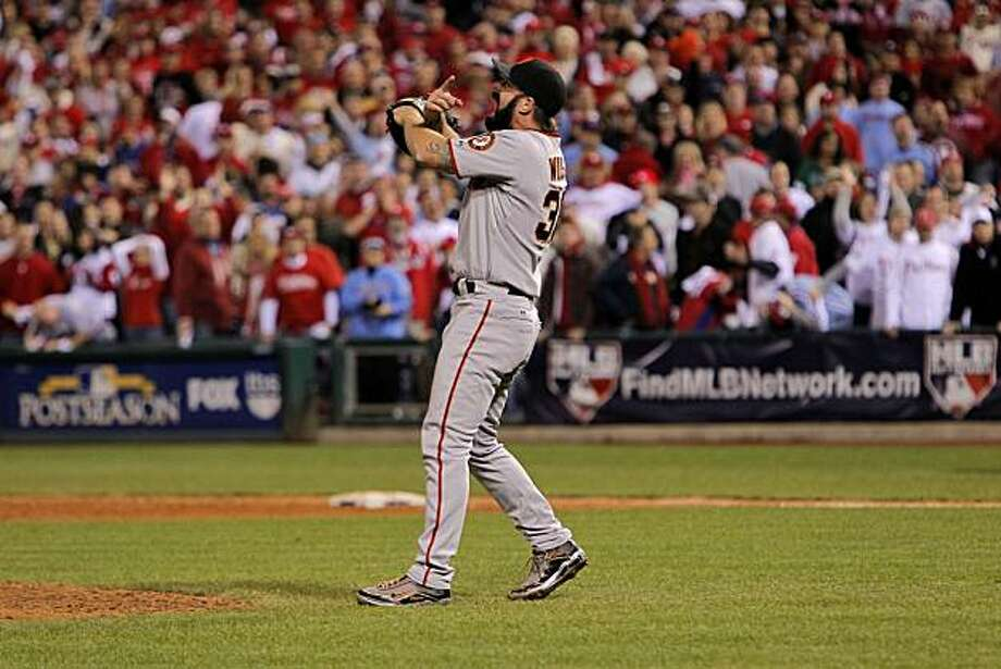 Giants closer Brian Wilson shuts down the ninth inning for the win against the Phillies in Game 6 of the NLCS on Saturday at Citizens Bank Park in Philadelphia. Photo: Michael Macor, The Chronicle