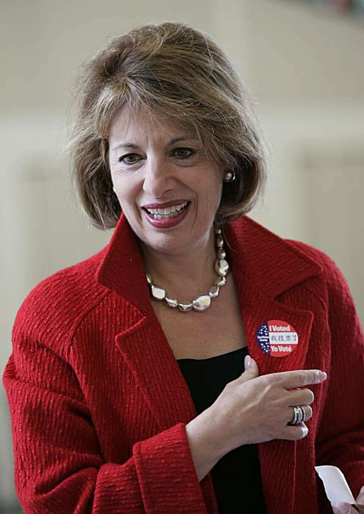 Jackie Speier smiles after voting in a special election in San Mateo, Calif., Tuesday, April 8, 2008. Speier, who as a congressional aide nearly 30 years ago was shot and left for dead on a Guyana airstrip, is seeking to win the House seat once held by her former boss. A former California state lawmaker, Speier was the favorite to win a special election to fill the House seat left vacant by the death of Democratic Rep. Tom Lantos. (AP Photo/Paul Sakuma)