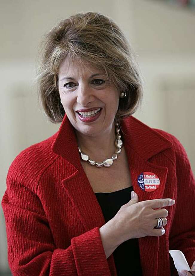 Jackie Speier smiles after voting in a special election in San Mateo, Calif., Tuesday, April 8, 2008. Speier, who as a congressional aide nearly 30 years ago was shot and left for dead on a Guyana airstrip, is seeking to win the House seat once held by her former boss. A former California state lawmaker, Speier was the favorite to win a special election to fill the House seat left vacant by the death of Democratic Rep. Tom Lantos.  (AP Photo/Paul Sakuma) Photo: Paul Sakuma, AP