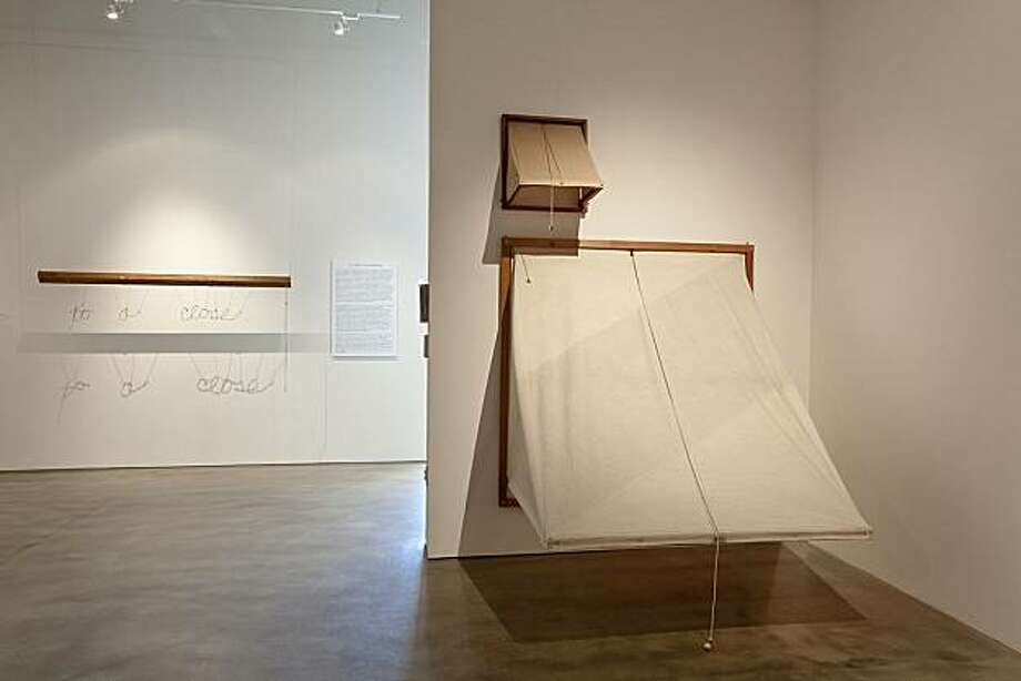 "Installation view of ""Tony May: Old Technology"" at San Jose Institute of Contemporary Art showing (l. to r.) ""Drawing to a Close"" (1967) mixed media, ""Variable Construction (Small Awning)"" (1965), canvas and wood, and ""Variable Construction (Large Awning)"" (1966), canvas and wood. Photo: David Pace, S.j. Institute Of Cont. Art"