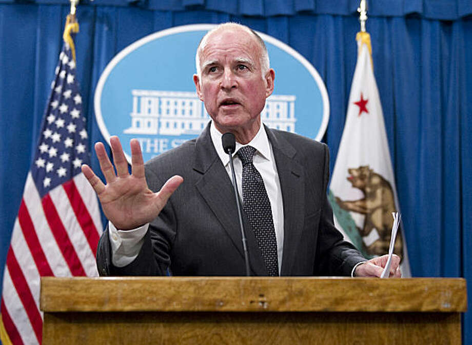 California Gov. Jerry Brown refuses to answer a question about his security in the wake of the Arizona shooting over the weekend after he released a budget proposal at the State Capitol on Monday, January 10, 2011 in Sacramento, California. (Hector Amezcua/Sacramento Bee/MCT) Photo: Hector Amezcua, MCT
