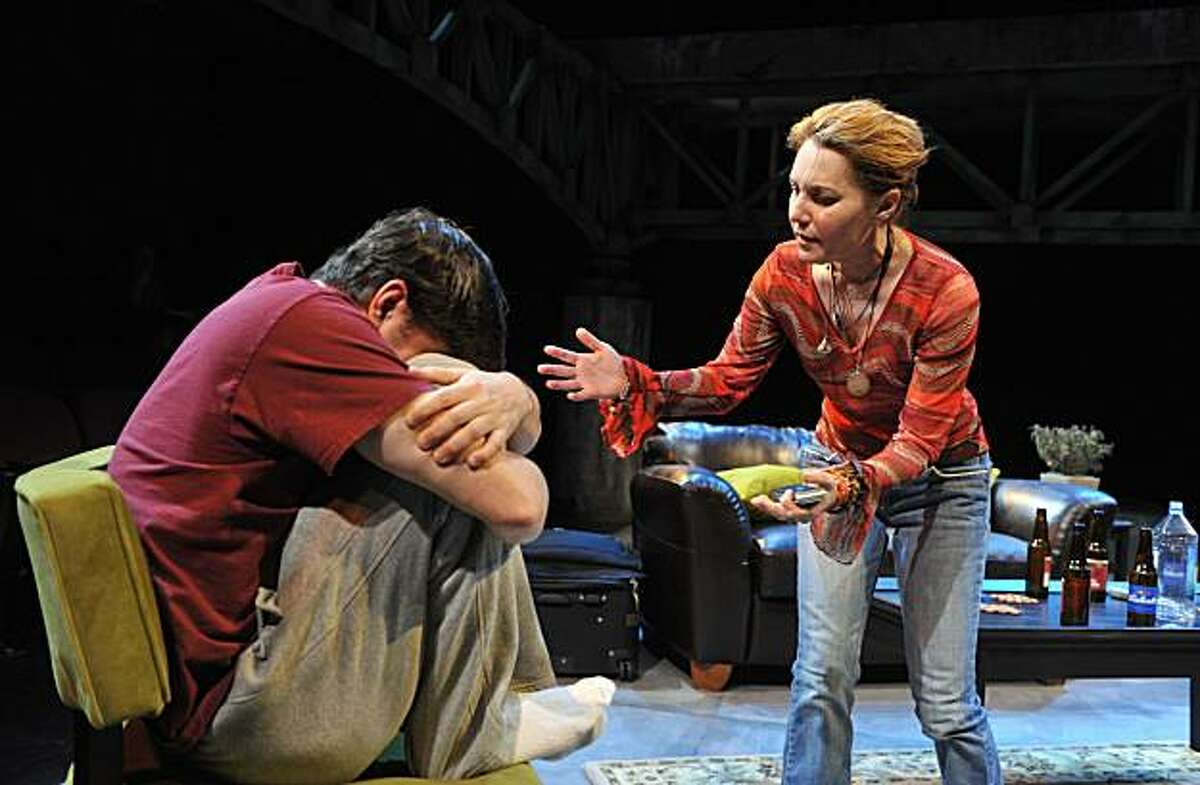David (Gabriel Marin, left) is comforted by Susan (Amy Resnick) in Aurora Theatre's world premiere of Allison Moore's