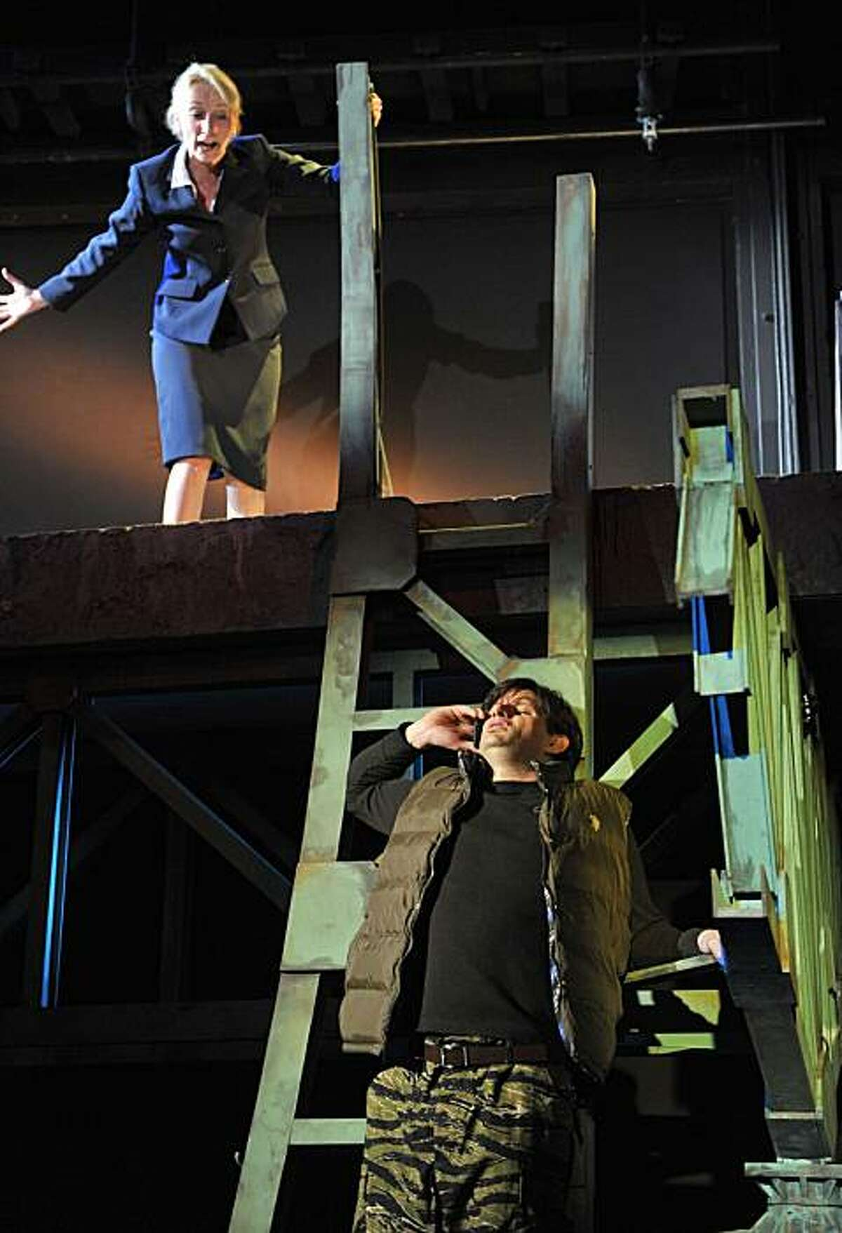 Hannah (Carrie Paff) and David (Gabriel Marin) face their fears on top of a bridge in Aurora Theatre's world premiere of Allison Moore's