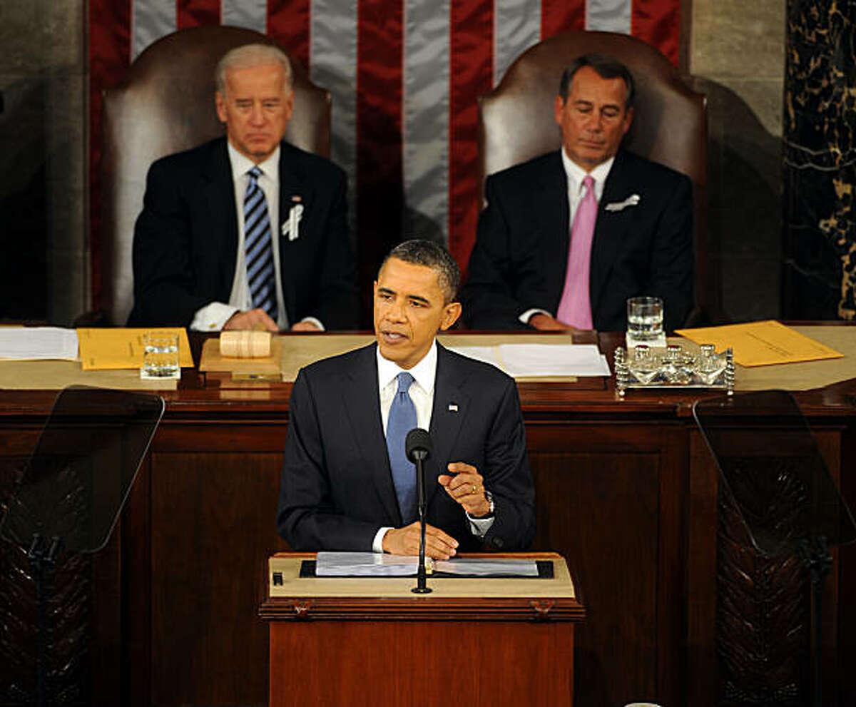 President Barack Obama gives his State of the Union address to Congress on Capitol Hill, Tuesday, January 25, 2010 in Washington, D.C. (Olivier Douliery/Abaca Press/MCT)