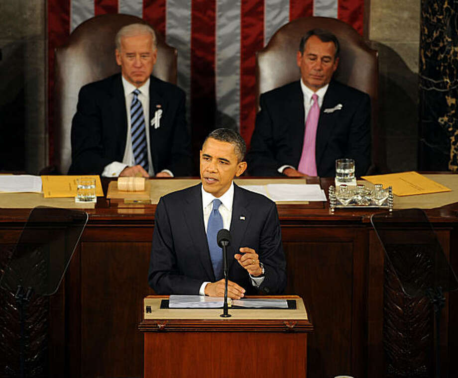 President Barack Obama gives his State of the Union address to Congress on Capitol Hill, Tuesday, January 25, 2010 in Washington, D.C. (Olivier Douliery/Abaca Press/MCT) Photo: Olivier Douliery, Abaca Press