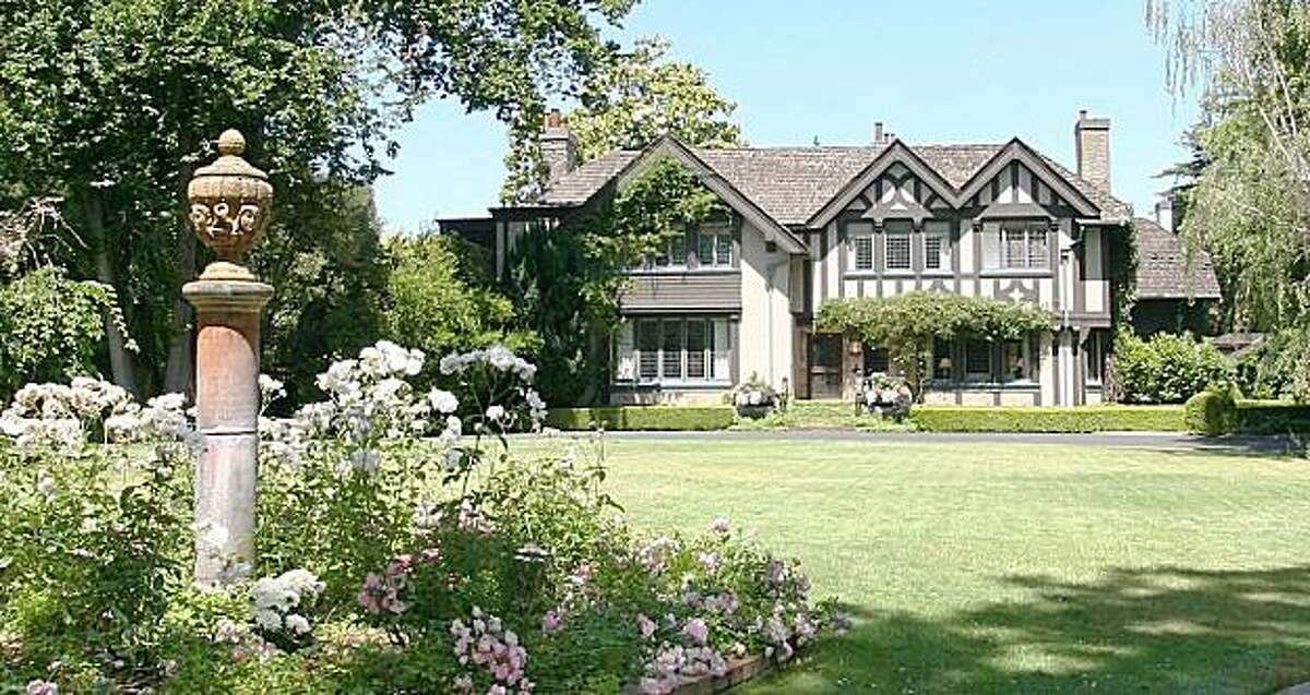 120 Selby Lane in Atherton was originally built in 1906. The Tudor-style home has seven bedrooms and six and a half bathrooms across 11,000 square feet. It sits on a two-acre lot with a swimming pool and tennis court, and is listed for $7.995 million.