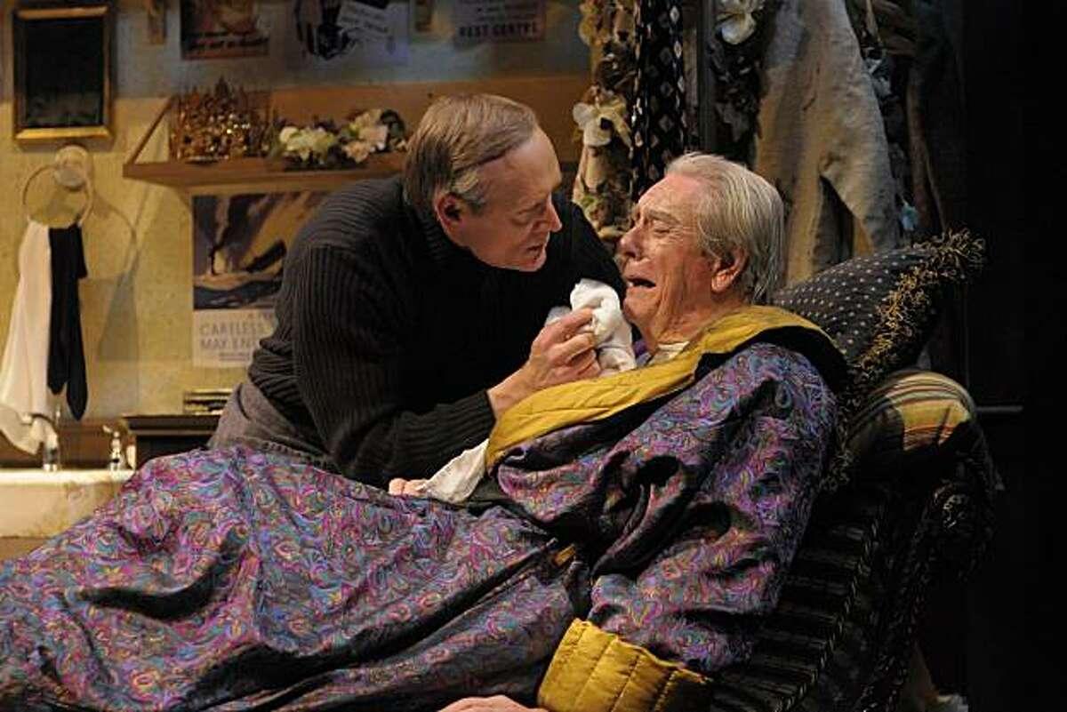 Norman (James Carpenter, left) consoles an ill Sir (Ken Ruta) in Ronald Harwood's